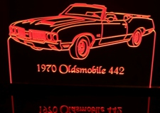 1970 Oldsmobile 442 Convertible Olds Acrylic Lighted Edge Lit LED Sign / Light Up Plaque Full Size USA Original