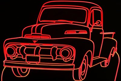 1951 Ford F1 Pickup Truck Acrylic Lighted Edge Lit LED Sign / Light Up Plaque