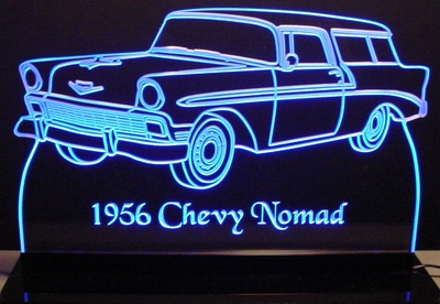1956 Chevy Nomad Acrylic Lighted Edge Lit LED Car Sign / Light Up Plaque Chevrolet
