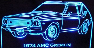 1974 AMC Gremlin Acrylic Lighted Edge Lit LED Car Sign / Light Up Plaque