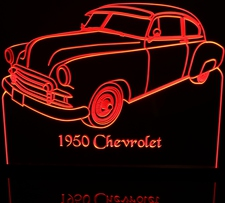 1950 Chevrolet Chevy Acrylic Lighted Edge Lit LED Sign / Light Up Plaque Full Size Made in USA