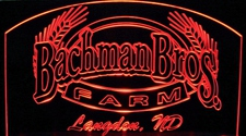 "Bachman SAMPLE ONLY Advertising Business Logo 21"" Large Acrylic Lighted Edge Lit LED Sign / Light Up Plaque"