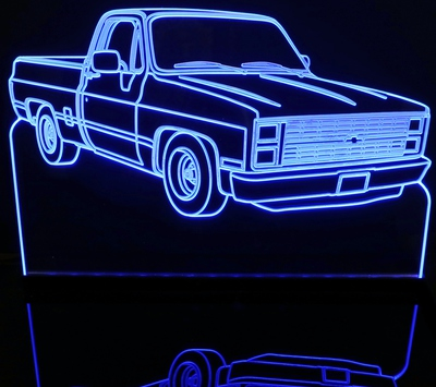 1985 Chevy Pickup Truck Acrylic Lighted Edge Lit LED Sign / Light Up Plaque Full Size Made in USA