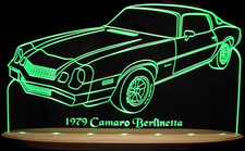 1979 Camaro Berlinetta Acrylic Lighted Edge Lit LED Sign / Light Up Plaque Full Size USA Original