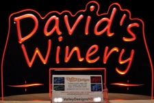 Business Card Holder SAMPLE Davids Winery Desk Company Logo Acrylic Lighted Edge Lit LED Sign / Light Up Plaque Full Size USA Original