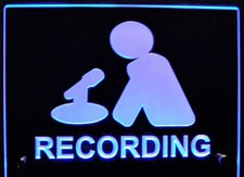 Recording Courtroom Room Music Studio Man with Mic mounts flat to the wall style shown Acrylic Lighted Edge Lit LED Sign / Light Up Plaque Full Size Made in USA