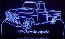 1959 Chevy Apache Pickup Truck Fleetside Acrylic Lighted Edge Lit LED Sign / Light Up Plaque Full Size Made in USA