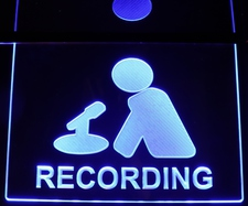 Recording Courthouse Ceiling Mount Man & Mike Acrylic Lighted Edge Lit LED Sign / Light Up Plaque Full Size Made in USA