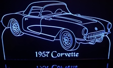 1957 Chevy Corvette Acrylic Lighted Edge Lit LED Car Sign / Light Up Plaque Chevrolet