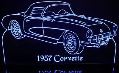 1957 Chevy Corvette Acrylic Lighted Edge Lit LED Sign / Light Up Plaque Chevrolet Full Size Made in USA