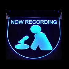 Recording Now Music Studio Ceiling Mount Court House Court Room Man & Mike Acrylic Lighted Edge Lit LED Sign / Light Up Plaque Full Size Made in USA