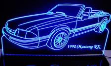 1990 Mustang LX Convertible Acrylic Lighted Edge Lit LED Sign / Light Up Plaque Full Size USA Original