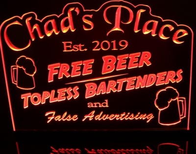 Chads Place Bar Sign Acrylic Lighted Edge Lit LED Sign / Light Up Plaque Full Size USA Original