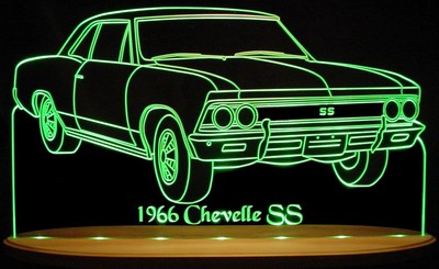 1966 Chevelle SS Chevy Acrylic Lighted Edge Lit LED Sign / Light Up Plaque Full Size USA Original