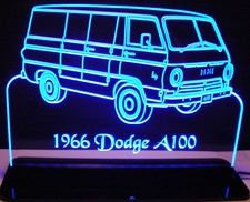 1966 Dodge Van A100 Acrylic Lighted Edge Lit LED Sign / Light Up Plaque Full Size USA Original