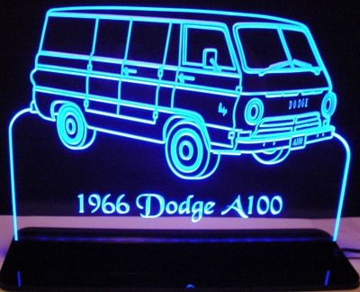 1966 Dodge Van A100 Acrylic Lighted Edge Lit LED Sign / Light Up Plaque Full Size Made in USA