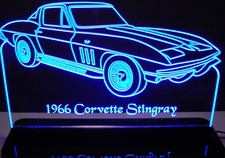 1966 Corvette Stingray Acrylic Lighted Edge Lit LED Sign / Light Up Plaque Full Size USA Original