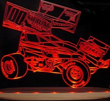 Wing Car Sprint Race Car Acrylic Lighted Edge Lit LED Sign / Light Up Plaque Full Size USA Original