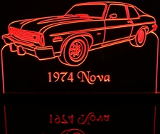 1974 Nova HB Hatchback Acrylic Lighted Edge Lit LED Sign / Light Up Plaque Full Size USA Original