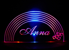Rainbow Lighted Sign Acrylic Lighted Edge Lit LED Sign / Light Up Plaque