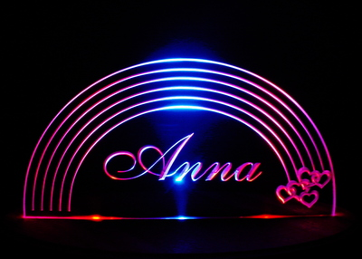 Rainbow Lighted Sign Acrylic Lighted Edge Lit LED Sign / Light Up