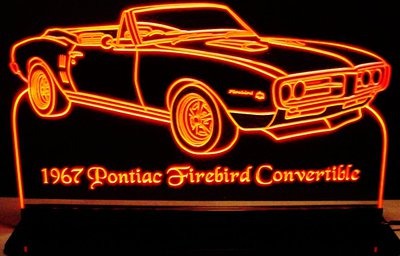 1967 Pontiac Firebird Convertible Acrylic Lighted Edge Lit LED Car Sign / Light Up Plaque