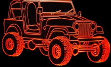 1979 Jeep CJ7 Acrylic Lighted Edge Lit LED Sign / Light Up Plaque Full Size Made in USA