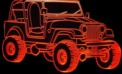 1979 Jeep CJ7 Acrylic Lighted Edge Lit LED Sign / Light Up Plaque Full Size USA Original
