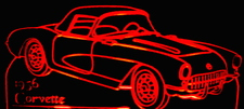 1956 Chevy Corvette Convertible Acrylic Lighted Edge Lit LED Sign / Light Up Plaque 56 Chevrolet