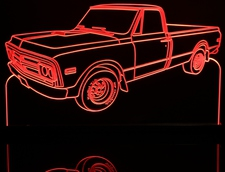 1970 GMC Pickup Truck Acrylic Lighted Edge Lit LED Sign / Light Up Plaque Full Size USA Original