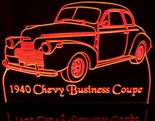 1940 Chevy Business Coupe Acrylic Lighted Edge Lit LED Car Sign / Light Up Plaque Chevrolet
