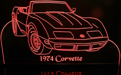 1974 Corvette Convertible Acrylic Lighted Edge Lit LED Sign / Light Up Plaque Full Size USA Original