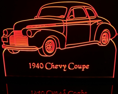 1940 Chevy Business Coupe Acrylic Lighted Edge Lit LED Sign / Light Up Plaque Full Size Made in USA