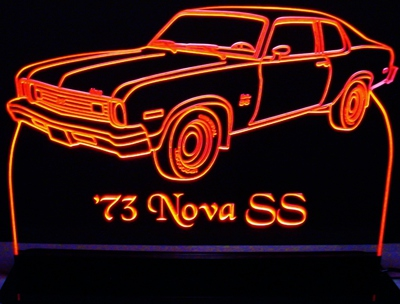 1973 Chevy Nova SS Acrylic Lighted Edge Lit LED Car Sign / Light Up Plaque Chevrolet