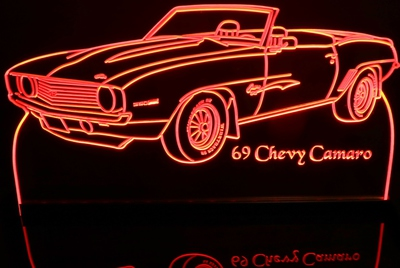 1969 Chevy Camaro Convertible Acrylic Lighted Edge Lit LED Car Sign / Light Up Plaque Chevrolet