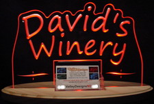 Winery Davids Business Cards Acrylic Lighted Edge Lit LED Sign / Light Up Plaque Full Size USA Original