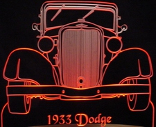 1933 Dodge Acrylic Lighted Edge Lit LED Sign / Light Up Plaque Full Size Made in USA