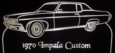 1970 Chevy Impala Custom Acrylic Lighted Edge Lit LED Car Sign / Light Up Plaque Chevrolet