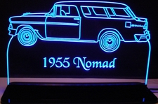 1955 Chevy Nomad Acrylic Lighted Edge Lit LED Sign / Light Up Plaque Chevrolet Full Size Made in USA