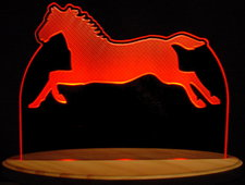 Horse Running Acrylic Lighted Edge Lit LED Sign / Light Up Plaque Full Size USA Original