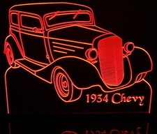 1934 Chevy Acrylic Lighted Edge Lit LED Sign / Light Up Plaque Full Size Made in USA