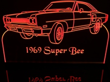 1969 SuperBee Acrylic Lighted Edge Lit LED Sign / Light Up Plaque Full Size Made in USA