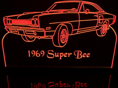 1969 SuperBee Super Bee Acrylic Lighted Edge Lit LED Sign / Light Up Plaque Full Size USA Original