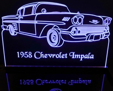 1958 Chevy Impala Chevrolet Acrylic Lighted Edge Lit LED Car Sign / Light Up Plaque