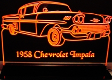 1958 Impala Acrylic Lighted Edge Lit LED Sign / Light Up Plaque Full Size Made in USA