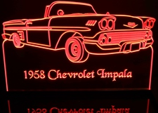 1958 Impala Convertible Acrylic Lighted Edge Lit LED Sign / Light Up Plaque Full Size Made in USA