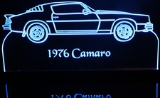 1976 Chevy Camaro Acrylic Lighted Edge Lit LED Sign / Light Up Plaque Chevrolet Full Size Made in USA
