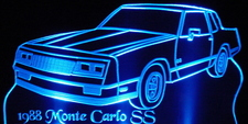 1988 Chevy Chevrolet Monte Carlo SS Acrylic Lighted Edge Lit LED Car Sign / Light Up Plaque