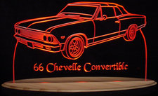 1966 Chevy Chevelle Convertible Acrylic Lighted Edge Lit LED Car Sign / Light Up Plaque Chevrolet