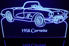 1958 Chevy Corvette Convertible Acrylic Lighted Edge Lit LED Sign / Light Up Plaque Full Size Made in USA